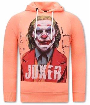 Tony Backer Joker Print Men Hoodies - Orange