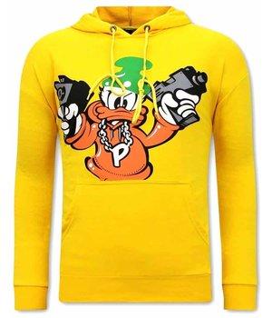 Tony Backer Gangster Duck Printed Hoodie - Yellow