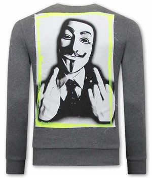 Tony Backer Anonymous Sweatshirt For Men - Grey