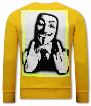 Tony Backer Anonymous Sweatshirt For Men - Yellow