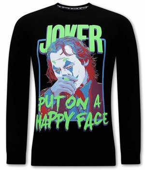 Tony Backer Joker Print Sweater For Men - Black