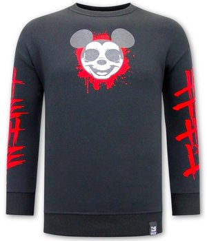 Tony Backer Sweatshirt With Gangster Mouse Print  - Black
