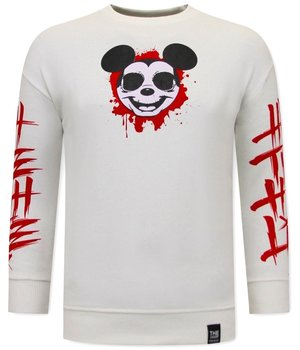 Tony Backer Sweatshirt With Gangster Mouse Print  - White
