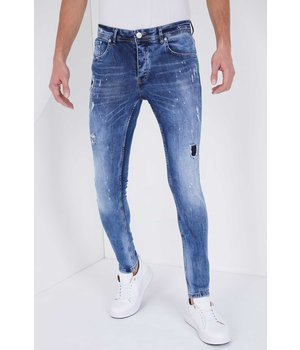 True Rise Paint Splatter Denim Jeans - 5301E - Blue
