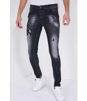 True Rise Men Jeans With Zipper - 5501A - Black