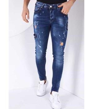 True Rise Men Ripped jeans  Paint Splatter - 52-01B - Blue