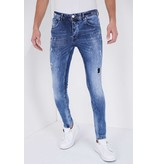 True Rise Cast Iron Paint Splatter Jeans - 5301D - Blue