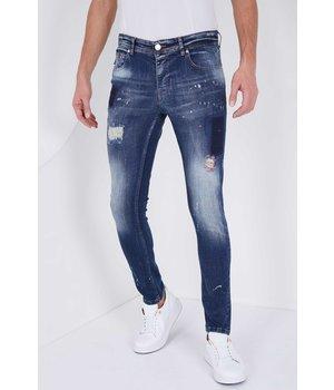 True Rise Paint Splatter Ripped Jeans- 5201C- Blue