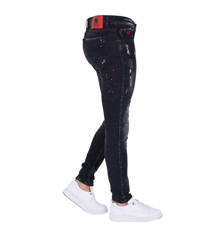 True Rise Paint Drops Ripped Jeans - 5501B - Black