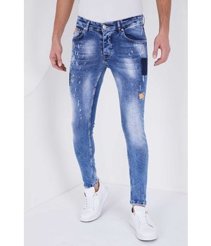 True Rise Paint Drops Ripped Jeans  - 5301A - Blue