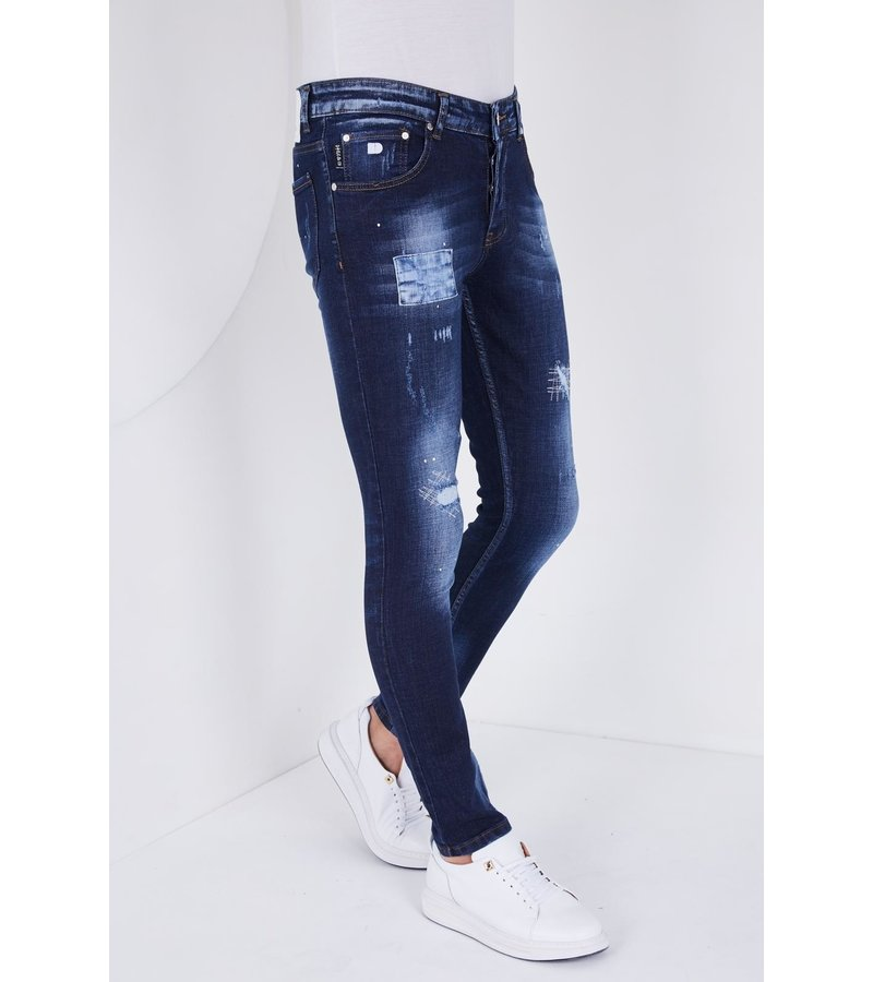 True Rise Embroidered Ripped Jeans - 5201D - Blue