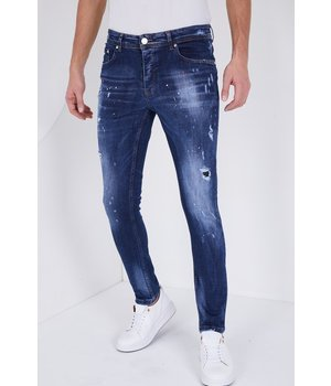 True Rise Ripped Jeans With Paint Splatter - 5301C - Blue