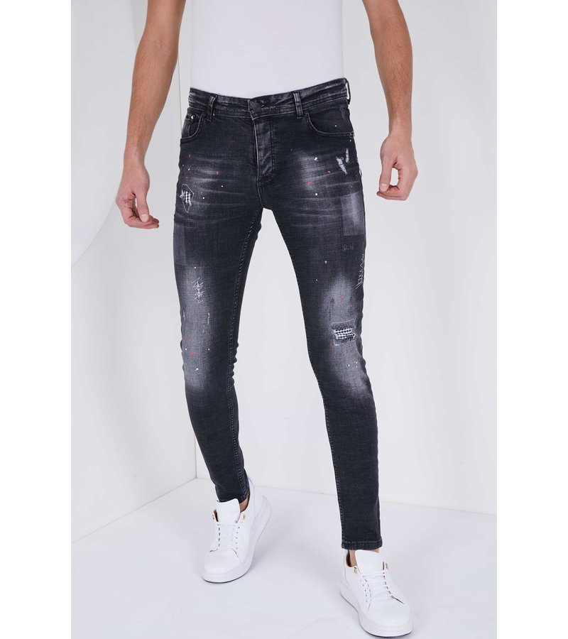 True Rise Painted Ripped Jeans - 5501C - Black