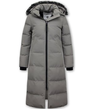 Matogla Ladies Padded Winter Coat Long  - 8606Z - Grey