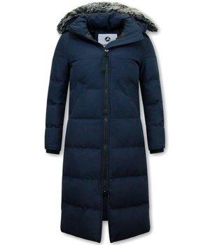 Matogla Ladies Padded Winter Coat  Long -  8606Z - Blue