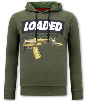 Local Fanatic Hoodie for Men Loaded Gun Print - Green