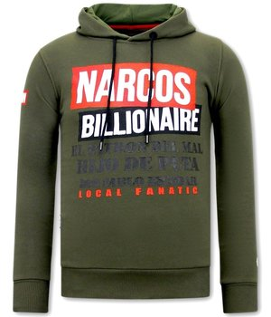 Local Fanatic Narcos Billionaire Printed Hoodie - Green
