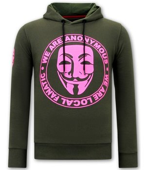 Local Fanatic Men Printed Hoodie We Are Anonymous - Green