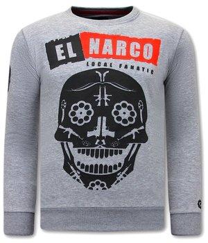 Local Fanatic Men Sweater With Print El Narco  - Grey