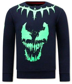 Local Fanatic Sweatshirt Skull Venom Face Neon - Blue