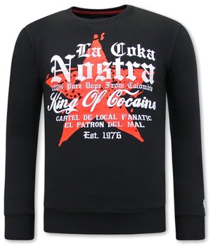 Local Fanatic Escobar King Of Cocaine Men Sweater  - Black