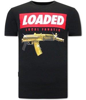 Local Fanatic Men T Shirt Loaded Gun Print - Black