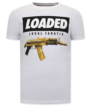 Local Fanatic Men T Shirt Loaded Gun Print - White