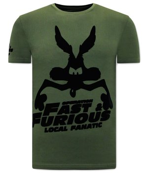 Local Fanatic Fast and Furious  Print T shirt - Green