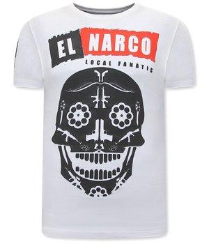 Local Fanatic EL Narco Skull T Shirt - White