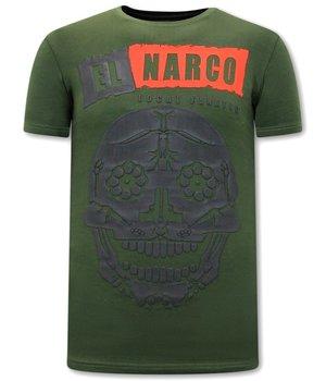 Local Fanatic EL Narco Skull T Shirt - Green