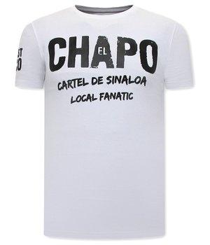 Local Fanatic EL Chapo Print Man T Shirt - White