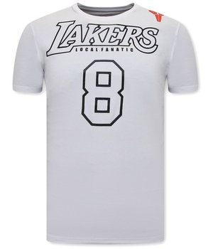 Local Fanatic Man T Shirt Lakers 8 Print - White