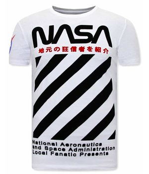 Local Fanatic NASA Print Men T Shirt - White