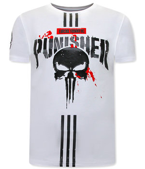 Local Fanatic Punisher Print Men T shirt  - White