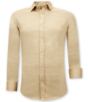 Tony Backer Casual Plain Shirts Mens - 3070 - Beige