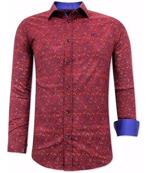 Tony Backer Lily Flower Print Shirts - 3064 - Bordeaux