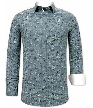Tony Backer Flower Pattern Mens Shirts - 3065 - Green