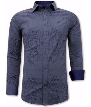 Tony Backer Flower Leaf Pattern Shirt Mens - 3066NW - Blue