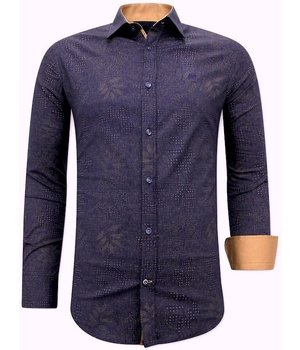 Tony Backer Leaf Print Shirts Men's - 3069NW - Blue