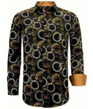 Tony Backer Chain Print Shirt Mens - 3078NW - Black