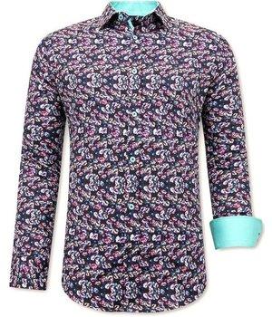 Tony Backer Flower Print Shirt Mens - 3076NW - Black