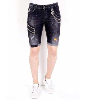 Local Fanatic Zip ankle Denim Shorts - 1019 - Black