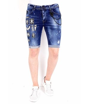 Local Fanatic Ripped Patched Denim Shorts Mens - 1018 - Blue