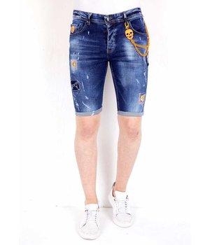 Local Fanatic Mens Denim Shorts Ripped - 1016 - Blue