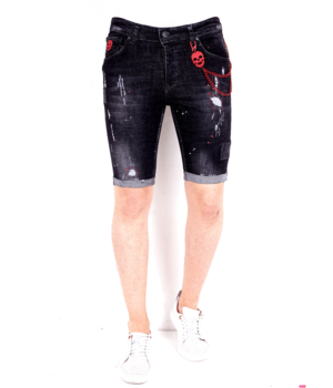 Local Fanatic Ripped Jeans Shorts Men's -1021 - Black