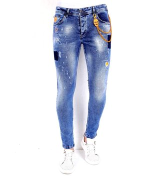 Local Fanatic Paint Splatter Ripped Jeans Mens - 1008 - Blue
