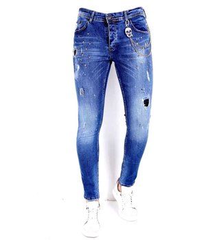 Local Fanatic Ripped jeans skull studs - 1009 - Blue