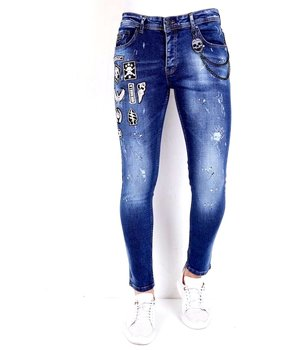 Local Fanatic Ripped Jeans With Patches -1004 - Blue