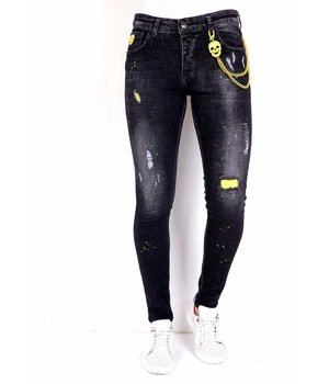 Local Fanatic Ripped Jeans Slim Fit Mens - 1003 - Black