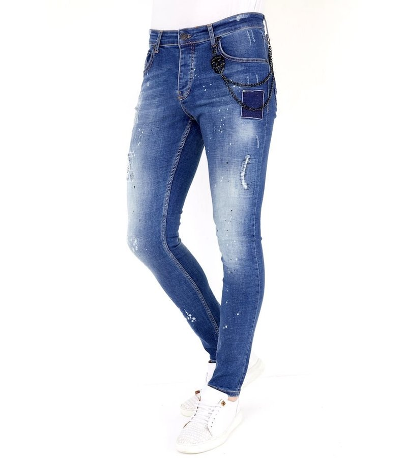 Local Fanatic Men Embroidered Jeans - 1035 - Blue